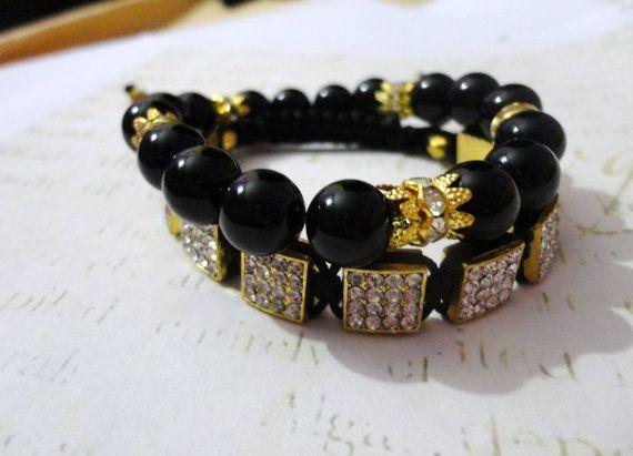 Black and Gold Beaded and Shamballa Bracelet set on Etsy, $11.10