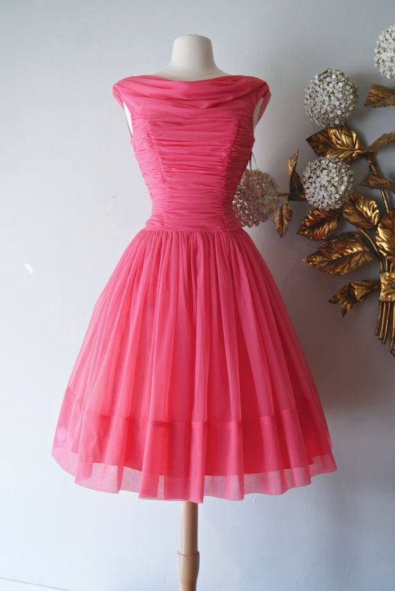 50s Dress // Vintage 1950&39s Hot Pink Prom Party Dress Full Skirt ...