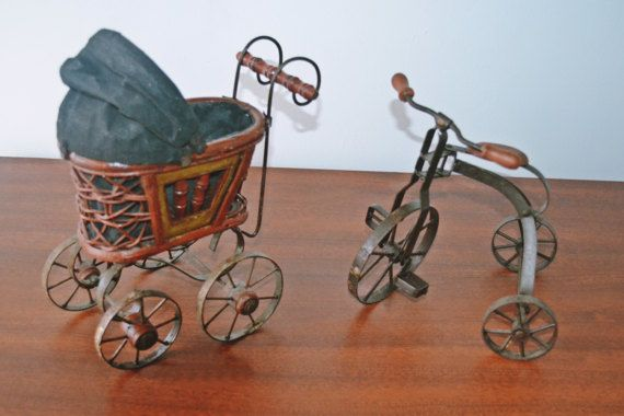 Vintage Miniature Pram And Tricycle Decorative Baby Buggy And