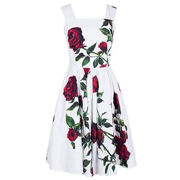 $13.92 Vintage Square Neck Sleeveless Floral Print Women's Dress