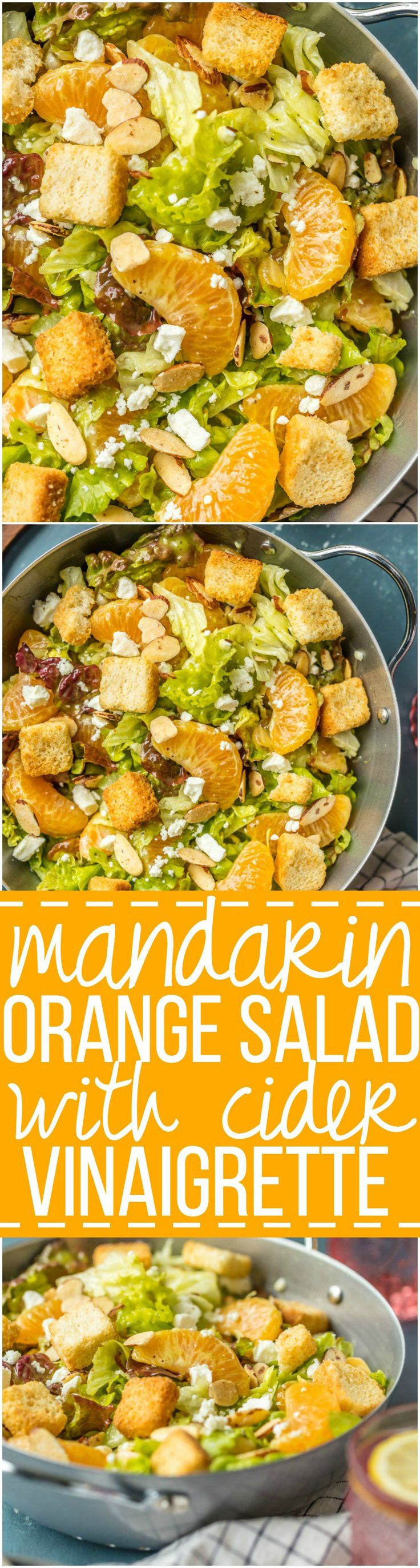 This MANDARIN ORANGE SALAD with ALMONDS AND CIDER VINAIGRETTE has been a favorite in our family forever! SO flavorful and easy. Such a great salad to throw together anytime! via @beckygallhardin