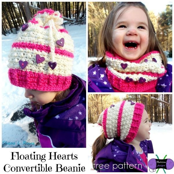 Free crochet pattern. This Floating Hearts Convertible Beanie can be worn in multiple ways. It can be worn as a traditional beanie or you could leave the drawstring loose and wear it as a pony tail hat. Designed by Blackstone designs exclusively for Cre8tion Crochet
