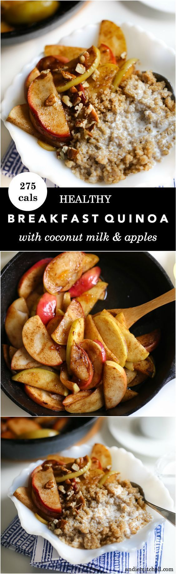 Healthy Breakfast Quinoa with Coconut Milk and Apples! You need this delicious and healthy breakfast recipe! Its sweet, filling, whole grain, and so good for you. Only 275 calories per bowl