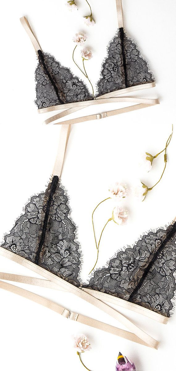 Lace sheer bralette see through lingerie underwear by SnitkoStudio