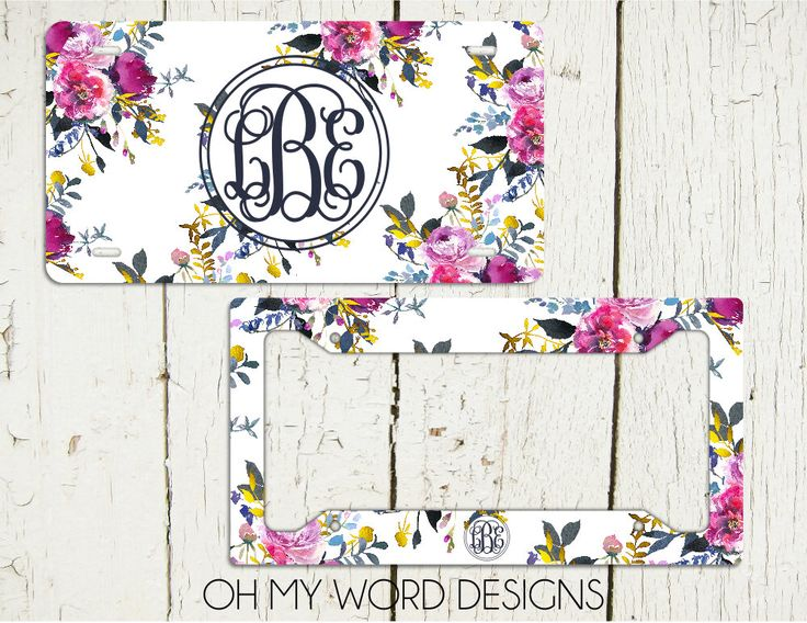 Monogram Car Tag Set-Personalized License Plate-Monogram Car Tag-Monogrammed License Plate-Flower Car Tag-Car Tag Frame-License Plate Frame by OhMyWordDesigns on Etsy https://www.etsy.com/listing/478954688/monogram-car-tag-set-personalized