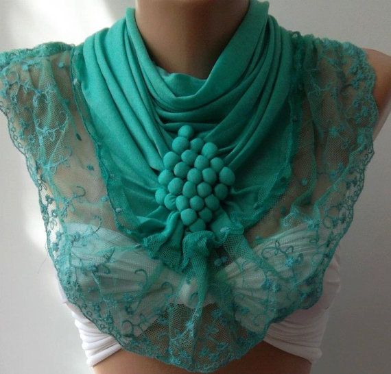 Nile Green / Elegance  Shawl / Scarf with Lacy Edge by womann, $23.90Elegant Shawl, Turquoise Elegant, Scarves, Things, Style Clothing, Nile Green, Green Scarf, Turquois Elegant, Lacy Edging