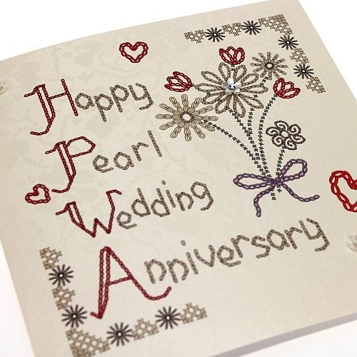 Handmade Homespun Pearl Anniversary Card 30 Years - 'Happy Pearl Wedding Anniversary'. Buy Here: http://thehandcraftedcardcompany.co.uk/cardcrafts/7960-homespun.asp?refid=7996