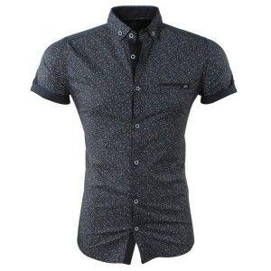 Overhemd Zwart Korte Mouw.H 4167 Megaman Heren Korte Mouw Overhemd Met Trendy Design