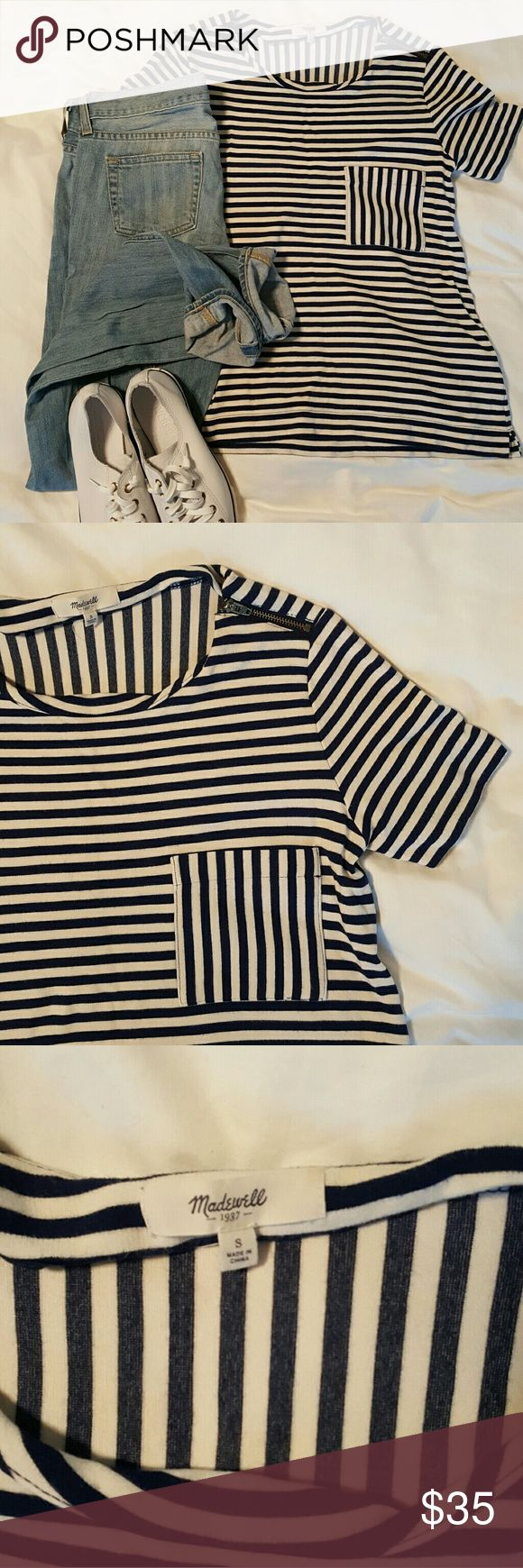 Madewell striped tee shirt This Madewell tee goes with everything! Cute witg blue and white stripes, a detail zipper at top, accent pocket and a pattern switch up in the back! Gently worn. Madewell Tops Tees - Short Sleeve