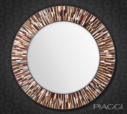 Roulette brown PIAGGI mosaic mirror by Piaggi