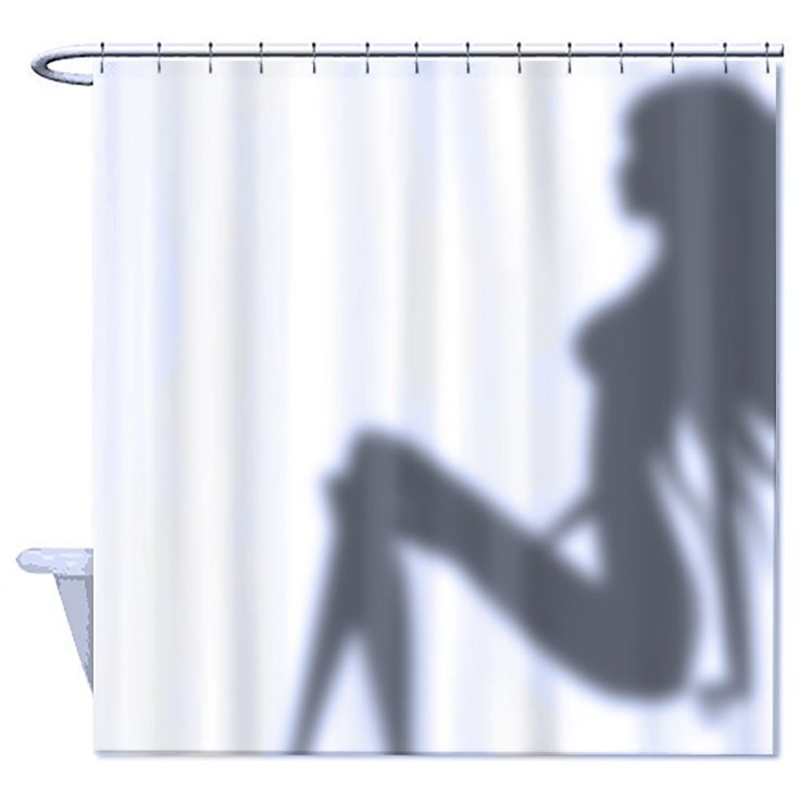 Funny Shower Curtain Sexy Woman Shadow 100% Polyester MATERIAL: Resistant  100% Polyester Fabric