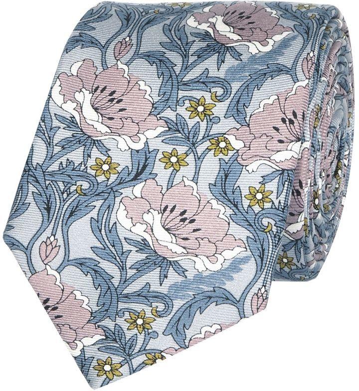 River Island Mens Pink silk retro floral print tie