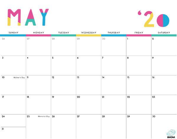 2020 Colorful Printable Calendar For Moms Diy Calendar Calendar