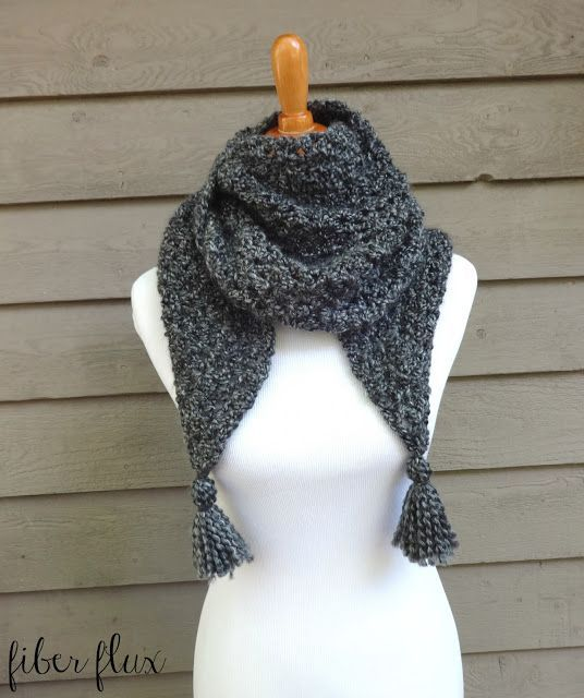 The Early Morning Wrap is an elegant wrap that takes the chill away. Bulky yarn and and an easy to crochet stitch make a cozy wrap full of texture! Add the optional tassels for a pretty added extra