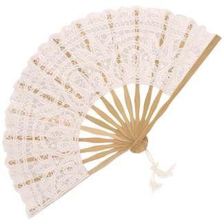 Battenberg Lace Fan in White - Brolliesgalore