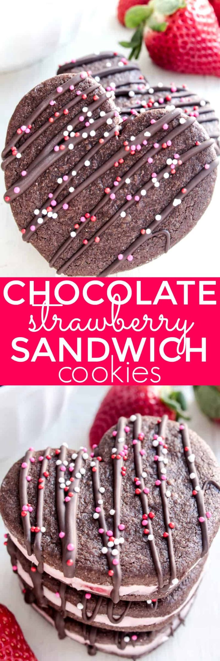 Chocolate Strawberry Sandwich Cookies...just in time for Valentine's Day! You're sure to fall in love with these adorable heart-shaped cookies - perfect for classroom parties, teacher gifts, or a special Valentine's Day treat. A delicious combination of chocolate sugar cookies and strawberry creme filling, they're surprisingly easy to make and seriously fun to eat. And with a little drizzle of chocolate and some fun colored sprinkles on top, they're exactly what you need t...