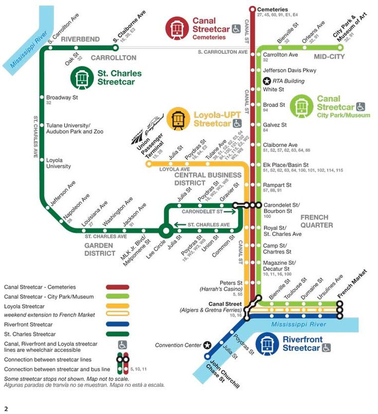 New Orleans Streetcar Routes | St Charles | Riverfront | Canal St