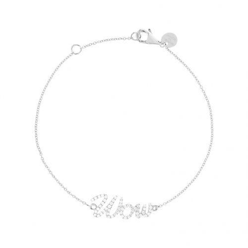 Wow bracelet in white gold 18 k with white diamonds.