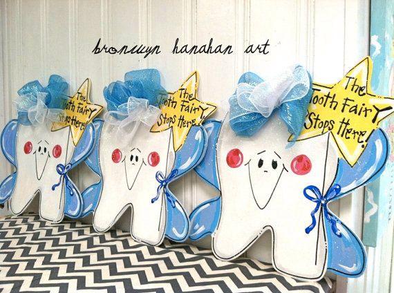The Tooth Fairy Stops Here Door Hanger - Bronwyn Hanahan Original. $50.00, via Etsy.