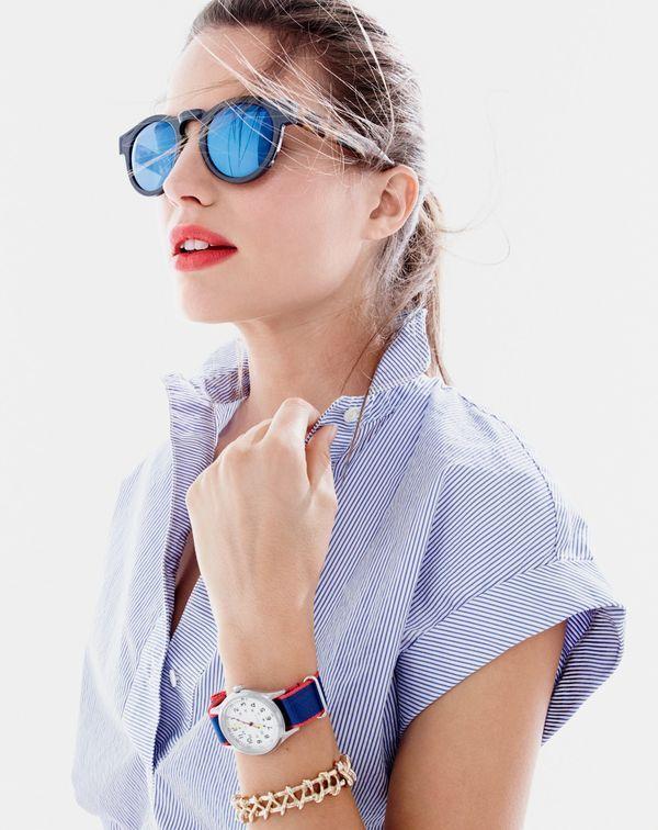 Illesteva™ for J.Crew Leonard blue mirrored sunglasses