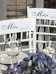 """Mr and Mrs"" Personalized Stain Chair Sashes(se... – USD $ 13.59"
