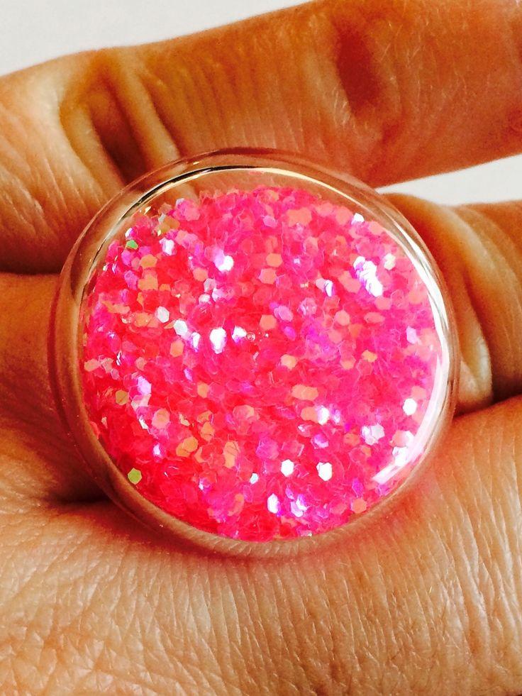 Bague bulle verre paillettes roses réglable : Bague par manava-creation