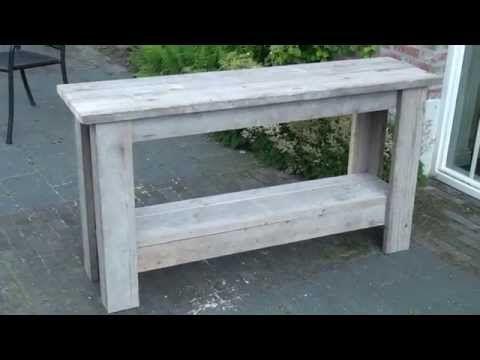 Hoe maak je een sidetable van steigerhout? - YouTube