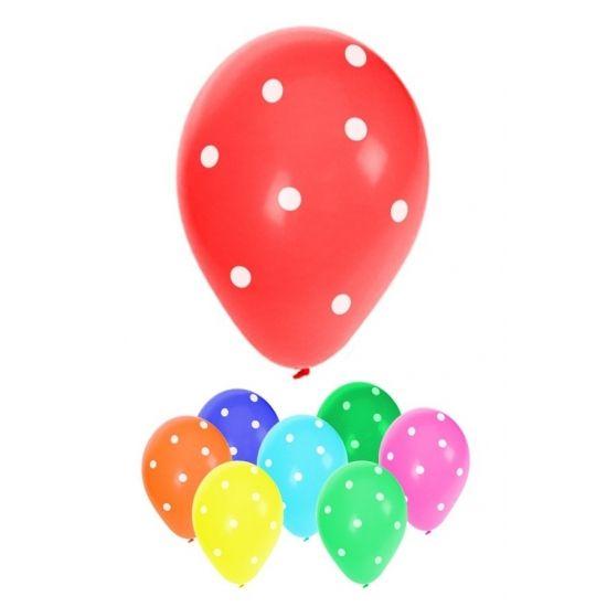 Gekleurde ballonnen met stippen. 8 stuks gestipte ballonnen in vrolijke kleuren. Formaat ballonnen: ongeveer 30 cm (opgeblazen).