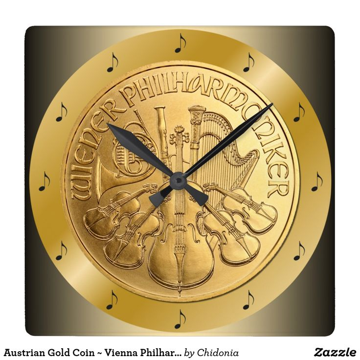 Austrian Gold Coin ~ Vienna Philharmonics 2017~*~ Square Wall Clock