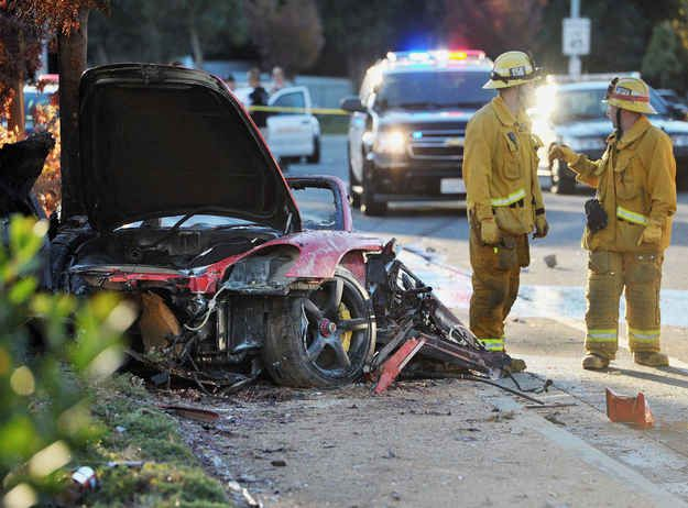 """The actor was riding in a Porsche GT when the driver somehow lost control and slammed into a post or a tree and then the car burst into flames. Both passengers were killed. 