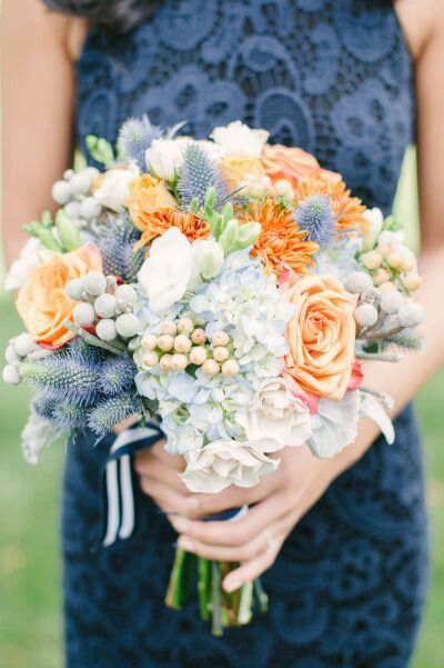 "Bridesmaid's Wedding Florals: Light Blue ""Antique"" Hydrangea, White Camellias, Snowberry, Orange Dahlias, Apricot Roses, Silver Brunia, & Blue Eryngium Thistle>>>>"