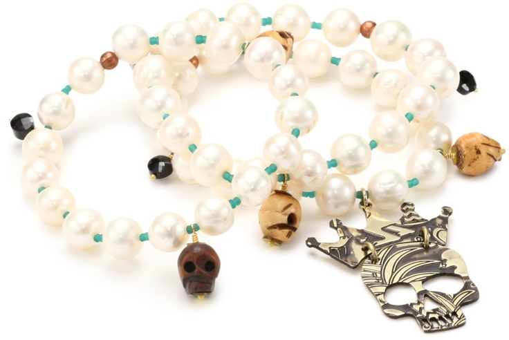 """* Mercedes Salazar """"Pearls"""" Skull Charms with Set of 3 Elastic Pearl Bracelet *"""