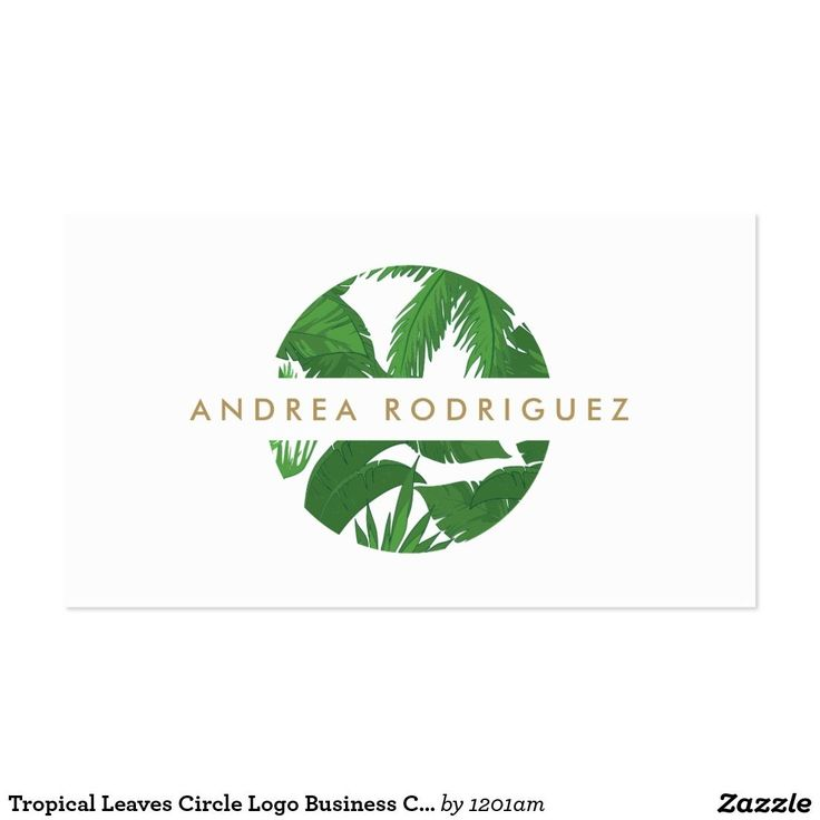 Tropical Leaves Circle Logo Business Card
