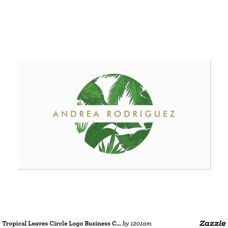 Tropical Leaves Circle Logo Business Card