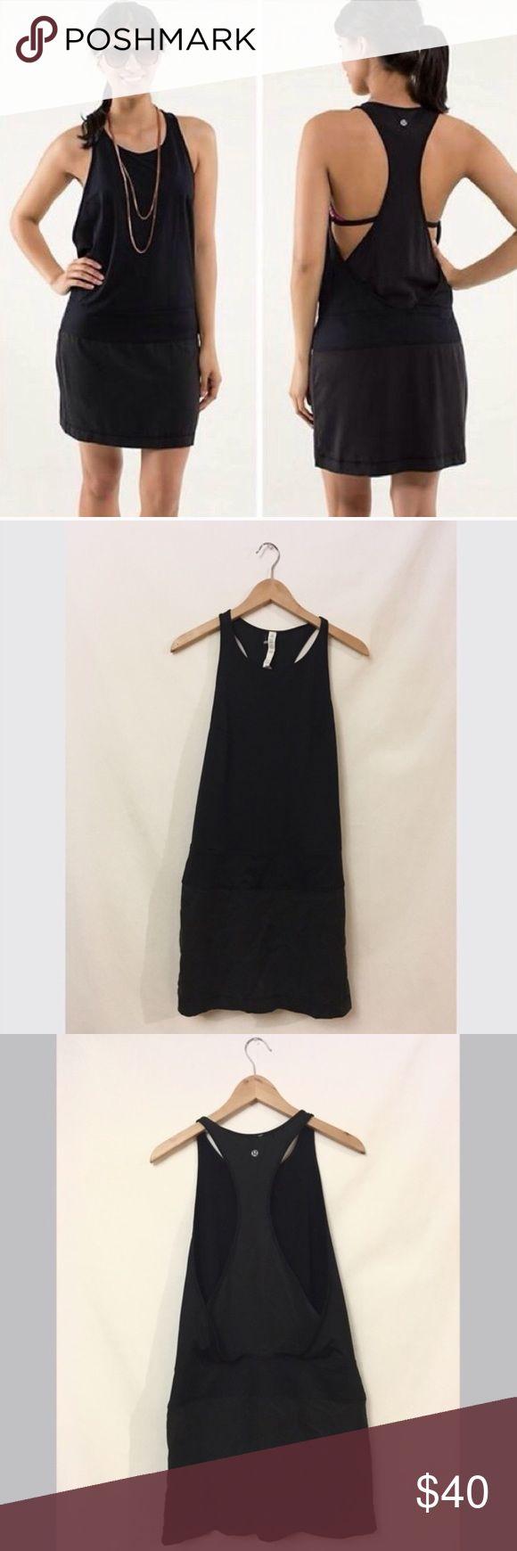 Black lululemon dress Lululemon black casual dress. Gently used condition. Will add a small lululemon recycled tote! :) lululemon athletica Dresses