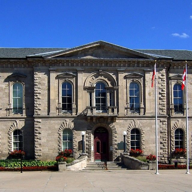 Old City Hall, Guelph, Ontario, built 1856-57. A National Historic Site. Instagram photo by @stonetownheritage