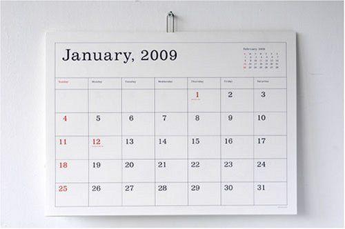 葛西薫 カレンダー KASAI Kaoru Calendar 2009 罫線あり AG-014
