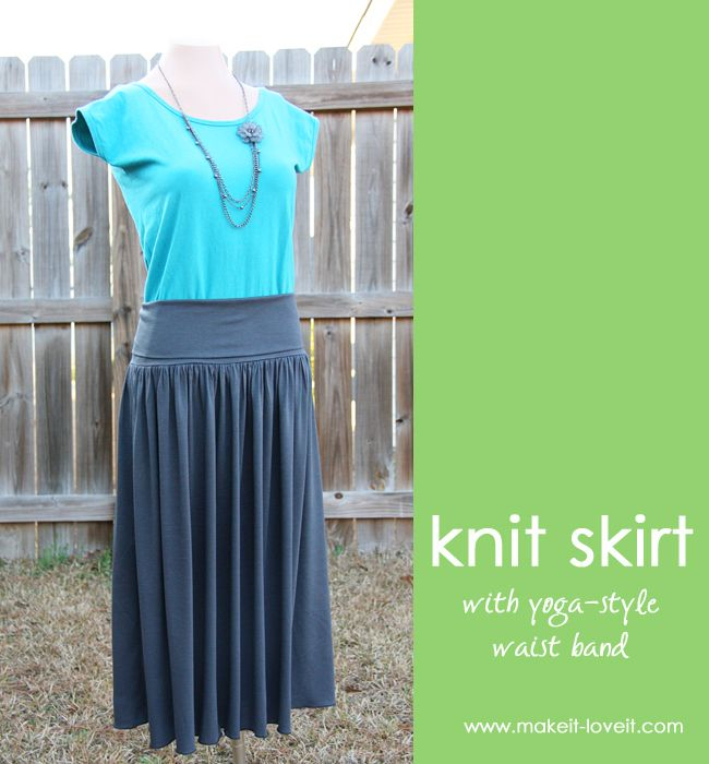 Knit skirt with yoga style waist band tutorialYoga Styles, Style Waist, Easy Skirts, Women Skirts, Knits Skirts, Women'S Skirts, Summer Skirts, Waist Band, Maxis Skirts
