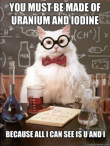 Chemistry Cat: You must be made of uranium and iodine...because all I can see is U and I.