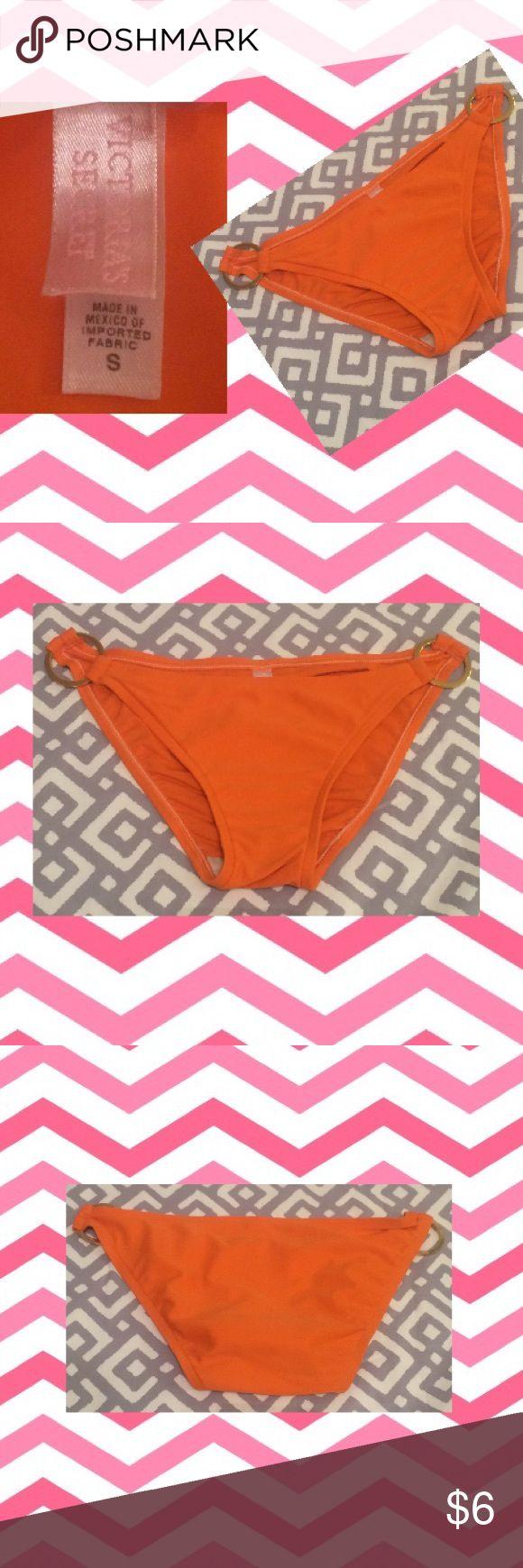 VS, small orange bikini bottom Small orange bikini bottom with gold rings on the sides. Victoria's Secret Swim Bikinis