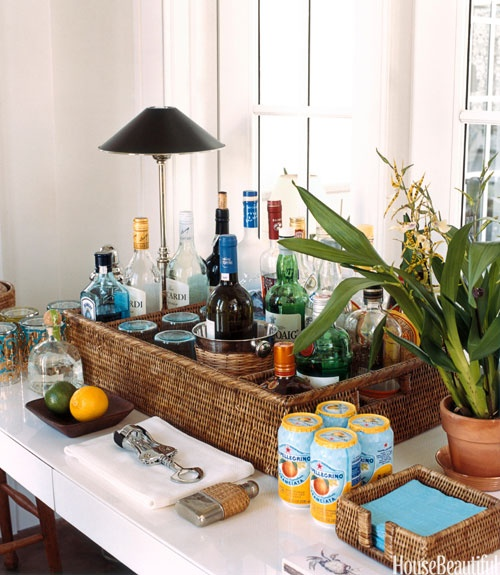 Marvelous Bar In A Basket! I Have This Basket Too! Home Bar Design Ideas   How To Set  Up A Home Bar   House Beautiful