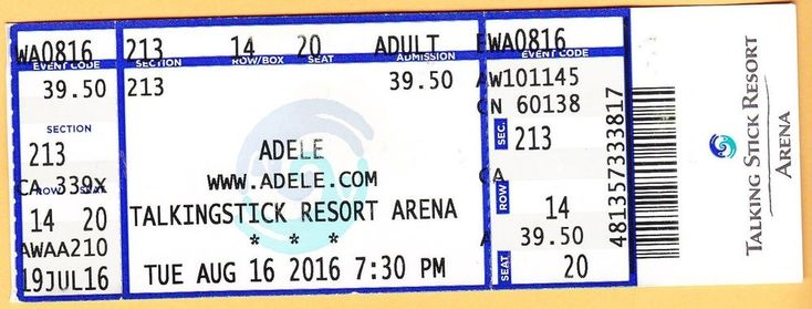 2016 ADELE concert ticket Talkingstick Resort Arena US Airways Center PHOENIX AZ  | eBay