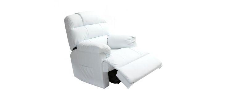 Fauteuil relax électrique releveur blanc PHOEBE - Miliboo