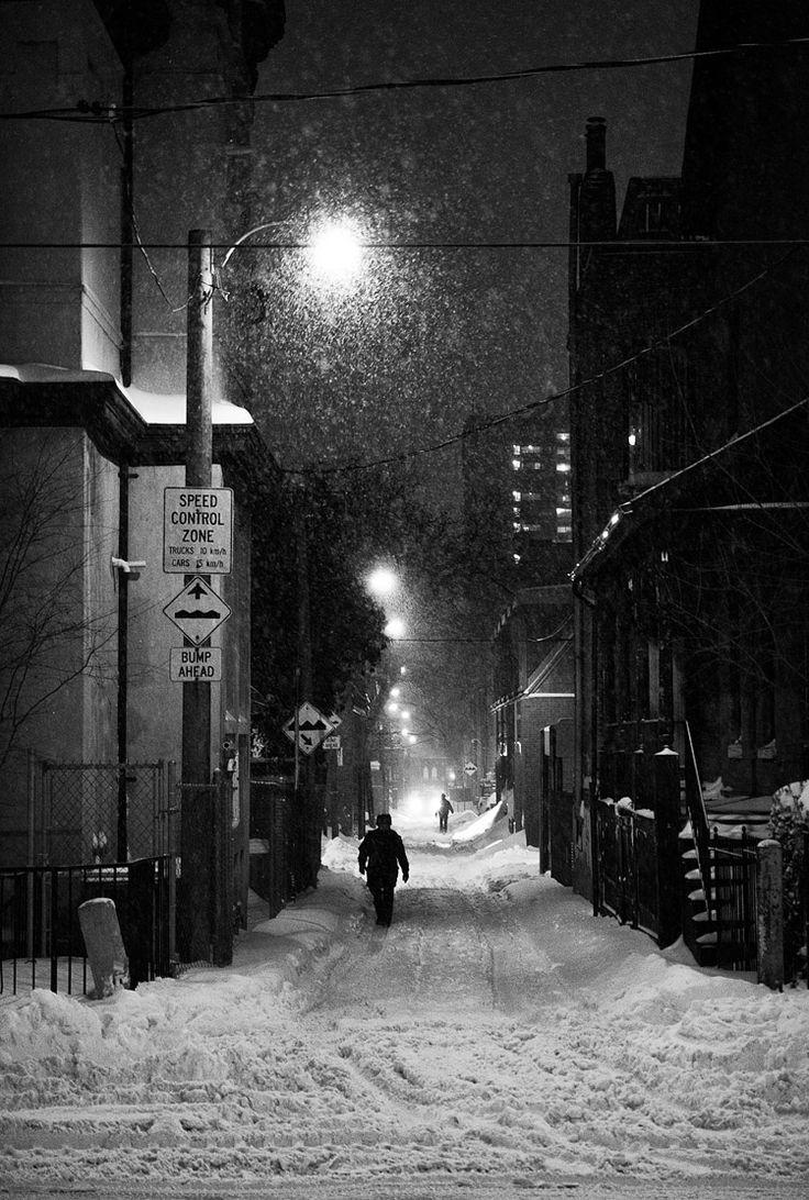 Snow city night