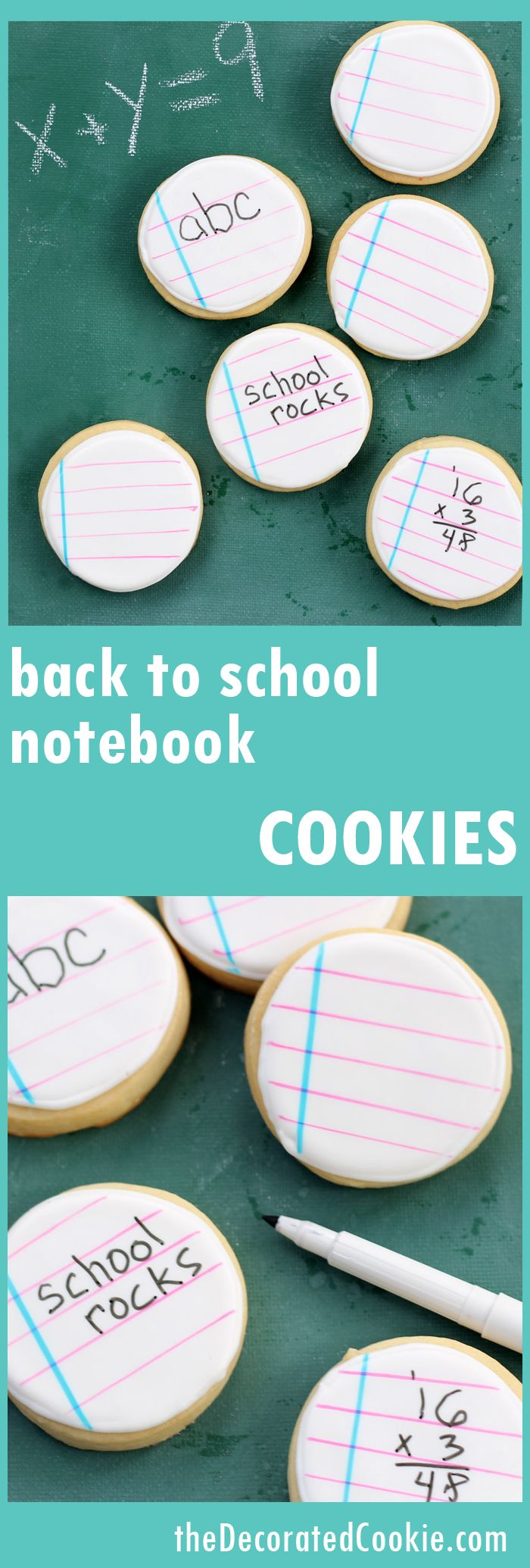 back to school cookies: notebook cookies you can write on