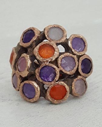 #anello #argento dorato rosso #giada viola lilla rosa e arancione #Springtime #orage #primavera #gioielliartigianali