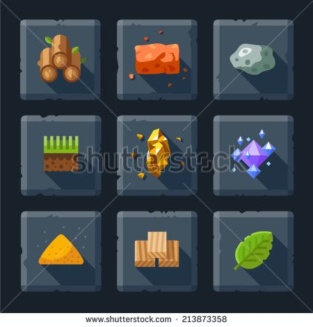 Cartoon vector flat relief game icon set on stone. Resources for construction: wood, stone, sand, brick, ground, grass, leaves, diamonds, crystals - stock vector