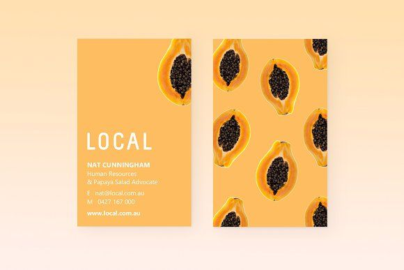 Local Papaya Business Cards With Images Business Card Template