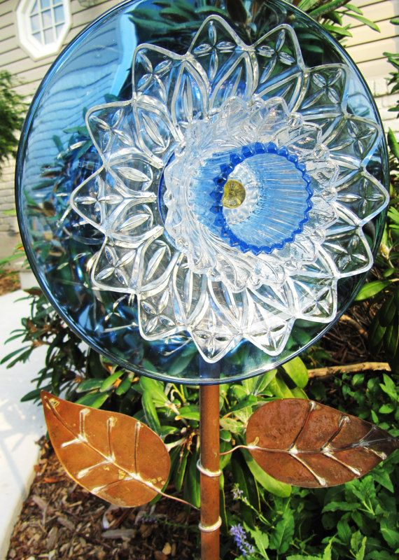 beautiful blue and crystal glass garden art vintage glass