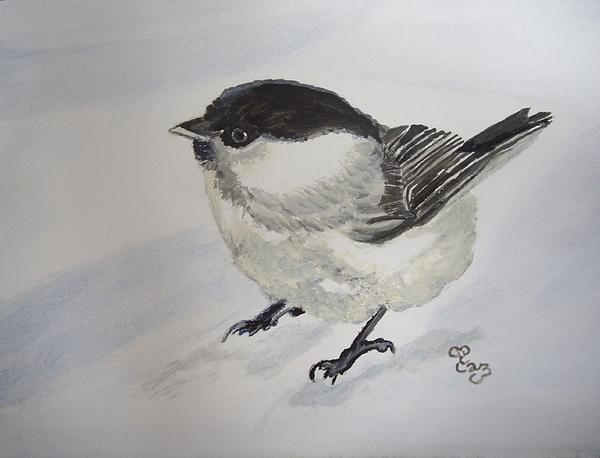Bird in the snow watercolour